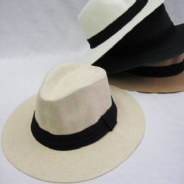 36 Units of Mens Straw Fedora Hat - Cowboy & Boonie Hat