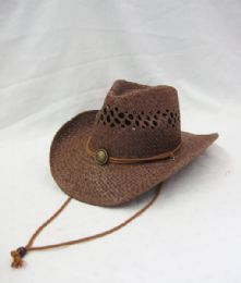 24 Units of Western Cowboy Hat In Brown - Cowboy & Boonie Hat