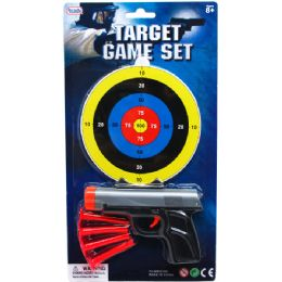 96 Units of TOY GUN WITH SOFT DARTS AND TARGET ON BLISTER CARD - Toy Weapons