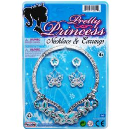 "96 Units of 4.75"" Princess Necklace & 2"" Earrings Tied On Card - Party Hats & Tiara"