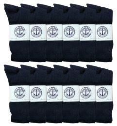 12 Pairs Value Pack of Wholesale Sock Deals Mens Crew Socks, Navy 13-16 - Mens Crew Socks