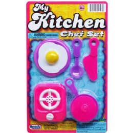 144 Units of My Kitchen Chef Set On Blister Card - Toy Sets