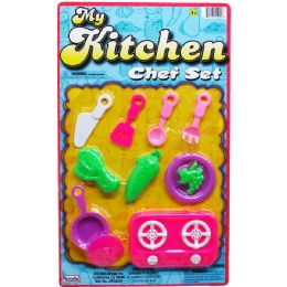 96 Units of My Kitchen Chef Play Set On Blister Card - Girls Toys