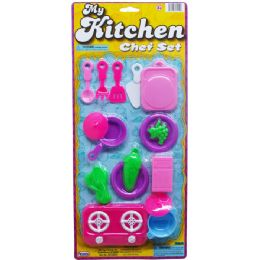 48 Units of KITCHEN PLAY SET ON BLISTER CARD - Girls Toys