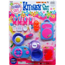 48 Units of 14pc Dishware Play Set On Blister Card - Toy Sets