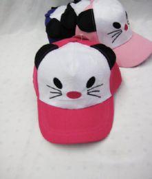 36 Units of Panda With Ears Kids Baseball Cap - Kids Baseball Caps