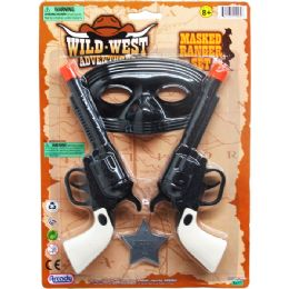 "48 Units of 2PC 7"" CLICKING TOY COWBOY GUN SET W/ 5"" MASK ON CARD - Toy Weapons"