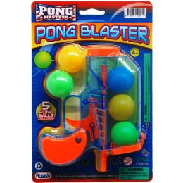 "96 Units of 6"" PING PONG TOY GUN W/ 5PC BALLS ON BLISTER CARD, 2 ASSRT - Toy Weapons"