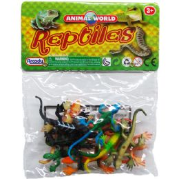 108 Units of PLASTIC LIZARDS IN PVC BAG WITH HEADER - Magic & Joke Toys