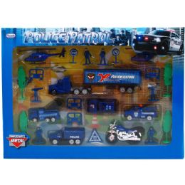 12 Units of Diecast Police Play Set In Window Box - Cars, Planes, Trains & Bikes