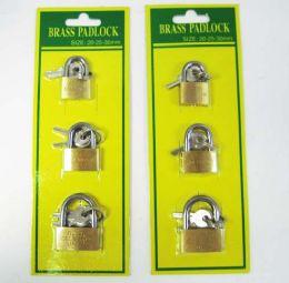 48 Units of 3 Piece Mini Pad Lock Set - Padlocks and Combination Locks
