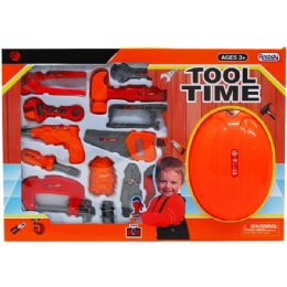 """18 Units of 15pc Tool Play Set W/ 9"""" Toy Helmet In Window Box - Toy Sets"""