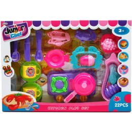 12 Units of Junior Chef Kitchen Play Set In Window Box - Girls Toys