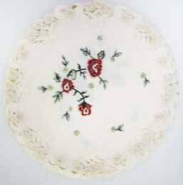 60 Units of Embroidered Doilies PEONY 8 inch Round - Oven Mits & Pot Holders