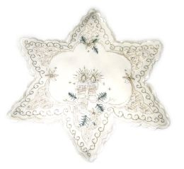 48 Units of Holly & White Candle & Bells 11 Inch Star Shaped - Oven Mits & Pot Holders