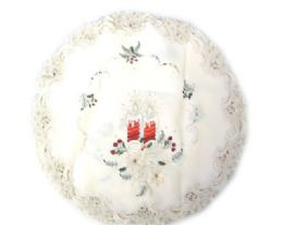 48 Units of Holly & Red Candle & Bells 11 Inch Round - Oven Mits & Pot Holders
