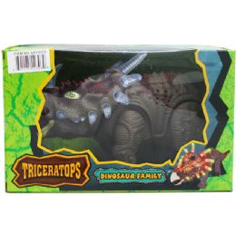 """12 Units of 14"""" B/o Dino Triceratops In Window Box, 2 Asst Colors - Animals & Reptiles"""