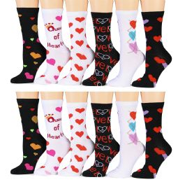12 Pairs of Excell Womens Heart Print Valentine Crew Socks, Cute Patterns - Womens Crew Sock