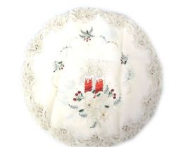 48 Units of Holly & Red Candle & Bells 22 Inch Round - Oven Mits & Pot Holders