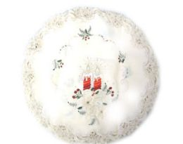 120 Units of Holly & Red Candle & Bells 8 inch Round - Oven Mits & Pot Holders