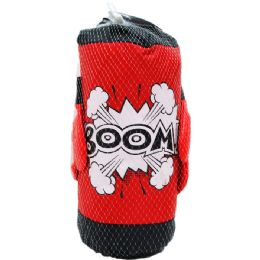 "12 Units of 14.5"" BOXING BAG (RED&BLK) W/ 8"" GLOVES IN PEGABLE NET BAG - Magic & Joke Toys"