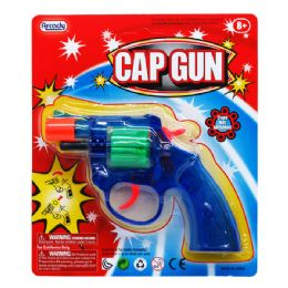"96 Units of 6"" Clear MultI-Color Cap Toy Gun(revolver) On Blister Card - Magic & Joke Toys"
