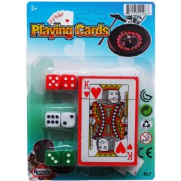 96 Units of SINGLE DECK PLAYING CARDS W/6PC DICE ON CARD - Playing Cards, Dice & Poker