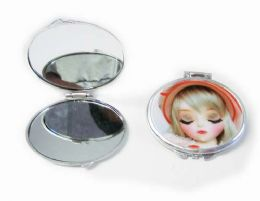 120 Units of 3d Girl Style Mini Mirror/color Assorted - Cosmetics