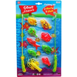 12 Units of Gone Fishing Play Set With Rods On Blister Card - Toy Sets
