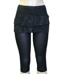 48 Units of Lady's Fashion Capri Leggings with Skirt - Womens Capri Pants