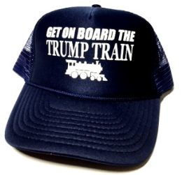 24 Units of Get On Board the Trump Train Mesh Caps - Navy blue - Baseball Caps & Snap Backs