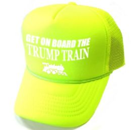 24 Units of Get On Board the Trump Train Mesh Caps - Neon Yellow - Baseball Caps & Snap Backs