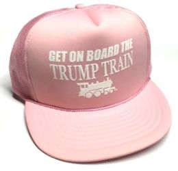 24 Units of Get On Board the Trump Train Mesh Caps - Pink - Baseball Caps & Snap Backs