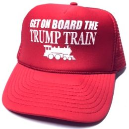 24 Units of Get On Board the Trump Train Mesh Caps - Red - Baseball Caps & Snap Backs