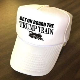 24 Units of Get On Board the Trump Train Mesh Caps - White - Baseball Caps & Snap Backs