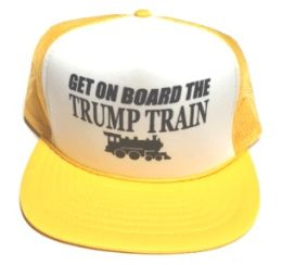 24 Units of Get On Board the Trump Train Mesh Caps - White front gold - Baseball Caps & Snap Backs