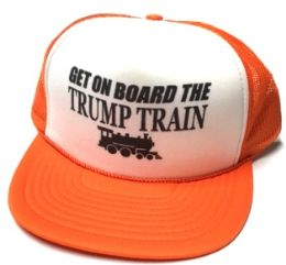 24 Units of Get On Board the Trump Train Mesh Caps - White front orange - Baseball Caps & Snap Backs