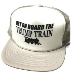 24 Units of Get On Board the Trump Train Mesh Caps - White front silver - Baseball Caps & Snap Backs