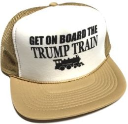 24 Units of Get On Board the Trump Train Mesh Caps - White front tan - Baseball Caps & Snap Backs