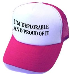 24 Units of I'm Deplorable and Proud Of It Printed Mesh Caps - White Front red - Baseball Caps & Snap Backs