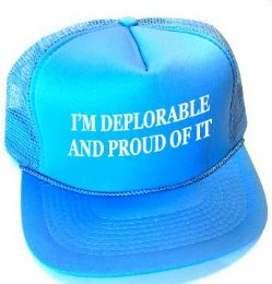 24 Units of I'm Deplorable and Proud of It Printed Mesh Caps - Light blue - Baseball Caps & Snap Backs