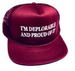 24 Units of I'm Deplorable and Proud of It Printed Mesh Caps - Maroon - Baseball Caps & Snap Backs