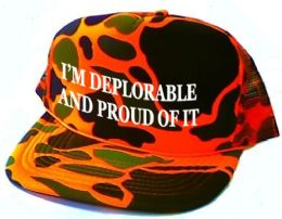 24 Units of I'm Deplorable and Proud of It Printed Mesh Caps - Orange camo - Baseball Caps & Snap Backs