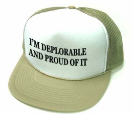 24 Units of I'm Deplorable and Proud Of It Printed Mesh Caps - Baseball Caps & Snap Backs