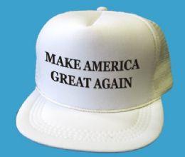 24 Units of Youth Printed Caps - Make America Great Again - White - Kids Baseball Caps