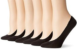 6 Pair Women's Mesh No Show / Silicone No Slip Loafer Sock Liner (Black) - Womens Ankle Sock