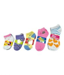168 Units of GT-Girl Design Spandex Sock. Size 0-12 - Girls Ankle Sock