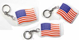 "288 Units of 2"" Plastic US flag keychain, - Key Chains"