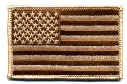 "48 Units of Embroidered iron on patch, U.S. Flag - Desert, approxiamtely 3.5"" wide - Flag"