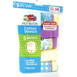 20 Units of Fruit Of The Loom Girl's Cotton Stretch Briefs 6 Pack - Girls Underwear and Pajamas